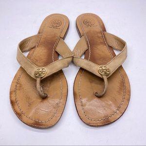 Tory Burch Tan Miller Logo Thong Sandals